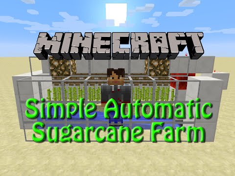 Minecraft: How to build a Fully Automatic Sugarcane Farm, Tutorial for 1.9, simple, compact