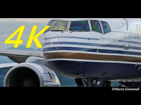 B757 with female captain arrives @ Milan, shut down engines, very close!
