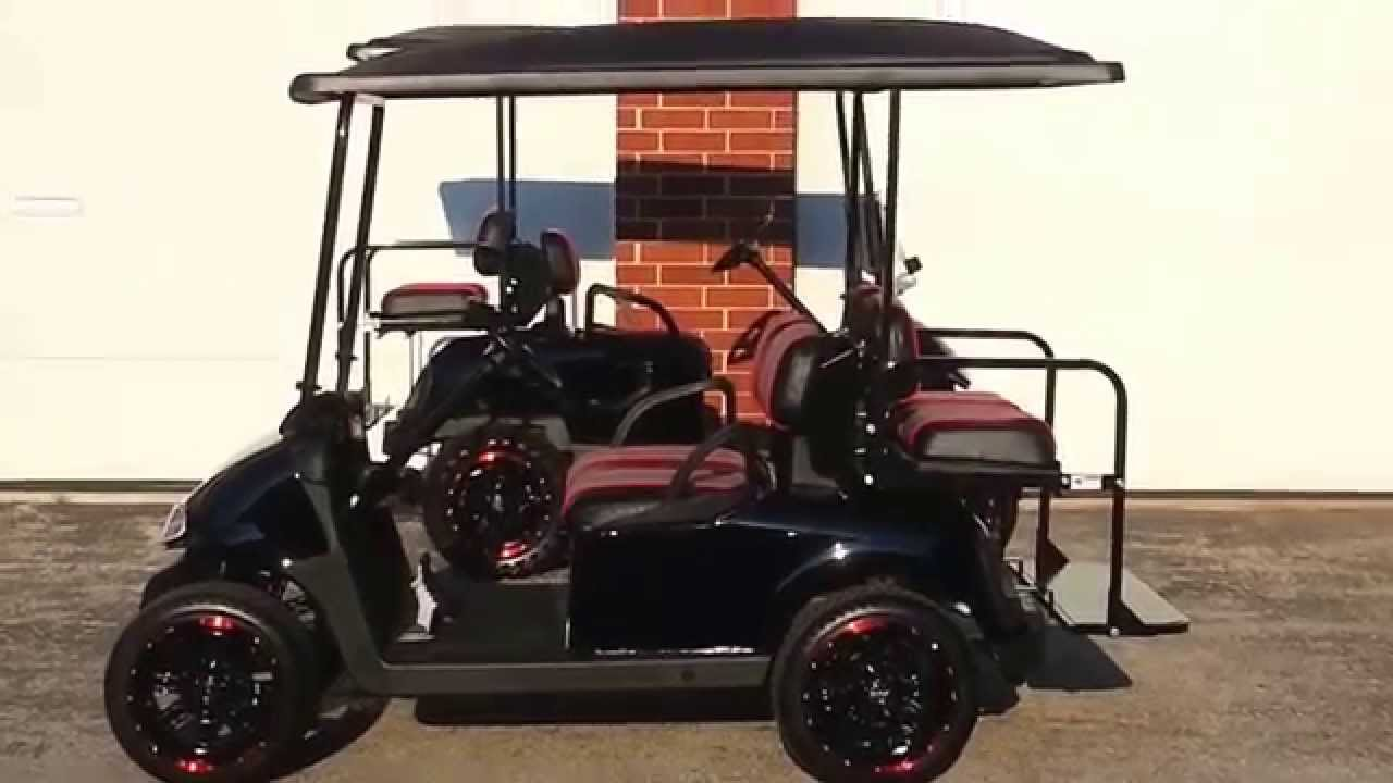 ezgo rxv gas golf cart 13hp new black body matching extended top with custom seats rims [ 1280 x 720 Pixel ]