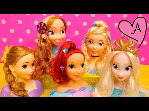 Peinados para princesas Ariel, Rapunzel, Anna, Elsa y Cenicienta - Novelas con muñecas y juguetes