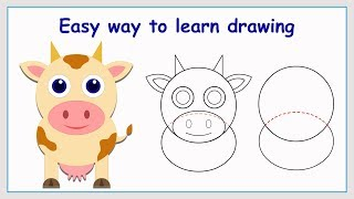Learn How to Draw Cute Cow in a Simple Way