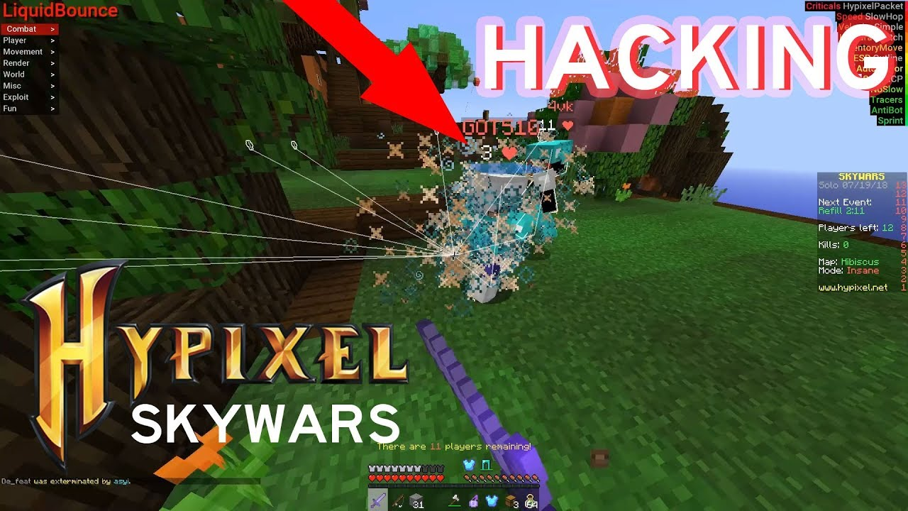 Minecraft : HACKING IN HYPIXEL! - EZ cheating EZ win [ EP:7 ]