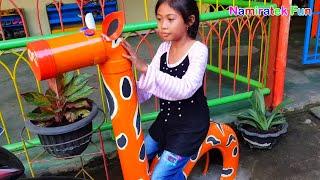Bermain Bersama teman naik odong odong hewan di Area Taman Bermain Anak Fun Outdoor Playground