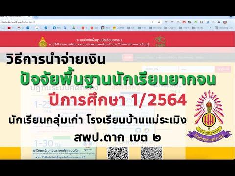 การนำจ่ายเงินปัจจัยพื้นฐานนักเรียนยากจน (กสศ.) ปี 1/2564 โรงเรียนบ้านแม่ระเมิง