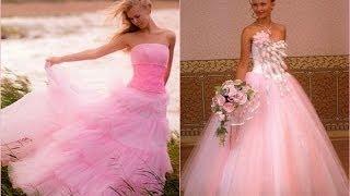 Розовое и красное свадебное платье