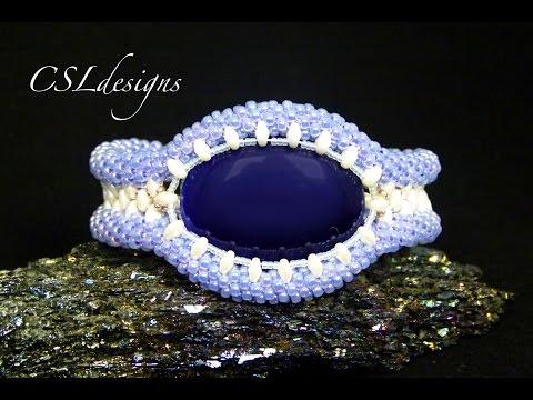 Captured cabochon beaded kumihimo bracelet