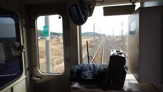 西平内駅を出発する青い森鉄道上り701系の前面展望