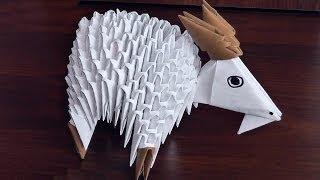 Модульное оригами коза (козочка, козел) схема сборки