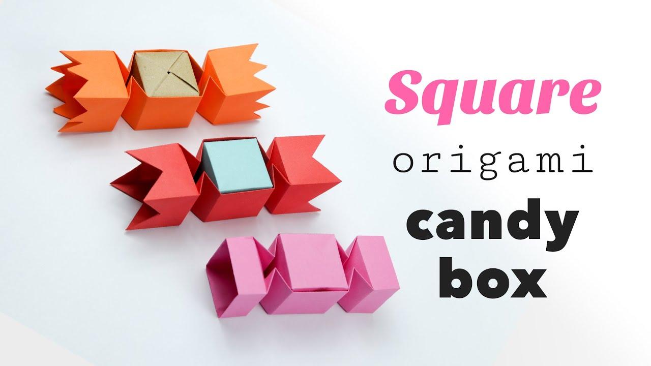 square origami candy box tutorial ��� diy ��� gift box ���