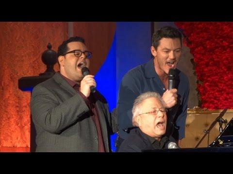 """Gaston"" live - Josh Gad, Luke Evans, Alan Menken at ""Beauty and the Beast"" press conference"