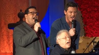 """Gaston"" live - Josh Gad, Luke Evans, Alan Menken at ""Beauty and the Beast"" press conference"