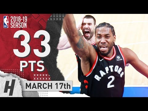 Kawhi Leonard Full Highlights Raptors vs Pistons 2019.03.17 - 33 Pts, 2 Ast, 10 Rebounds!