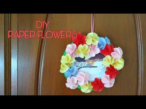 EASY DIY PAPER FLOWER WALL DECOR   CARA MUDAH MEMBUAT DIY BUNGA  DEKORASI PINTU DAN  DINDING