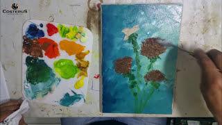 Como Pintar Girassóis - Passo a Passo - Pintura a Óleo Sobre Tela | Professor Costerus