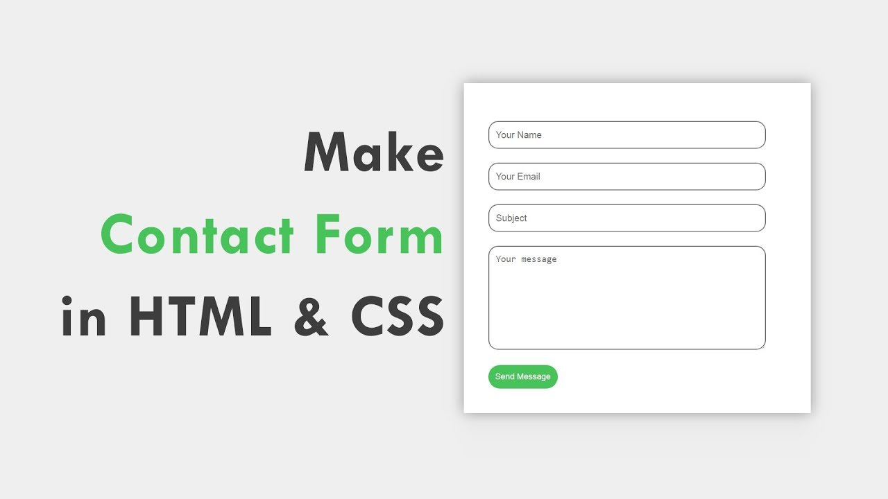 How To Make Contact Form Using HTML And CSS