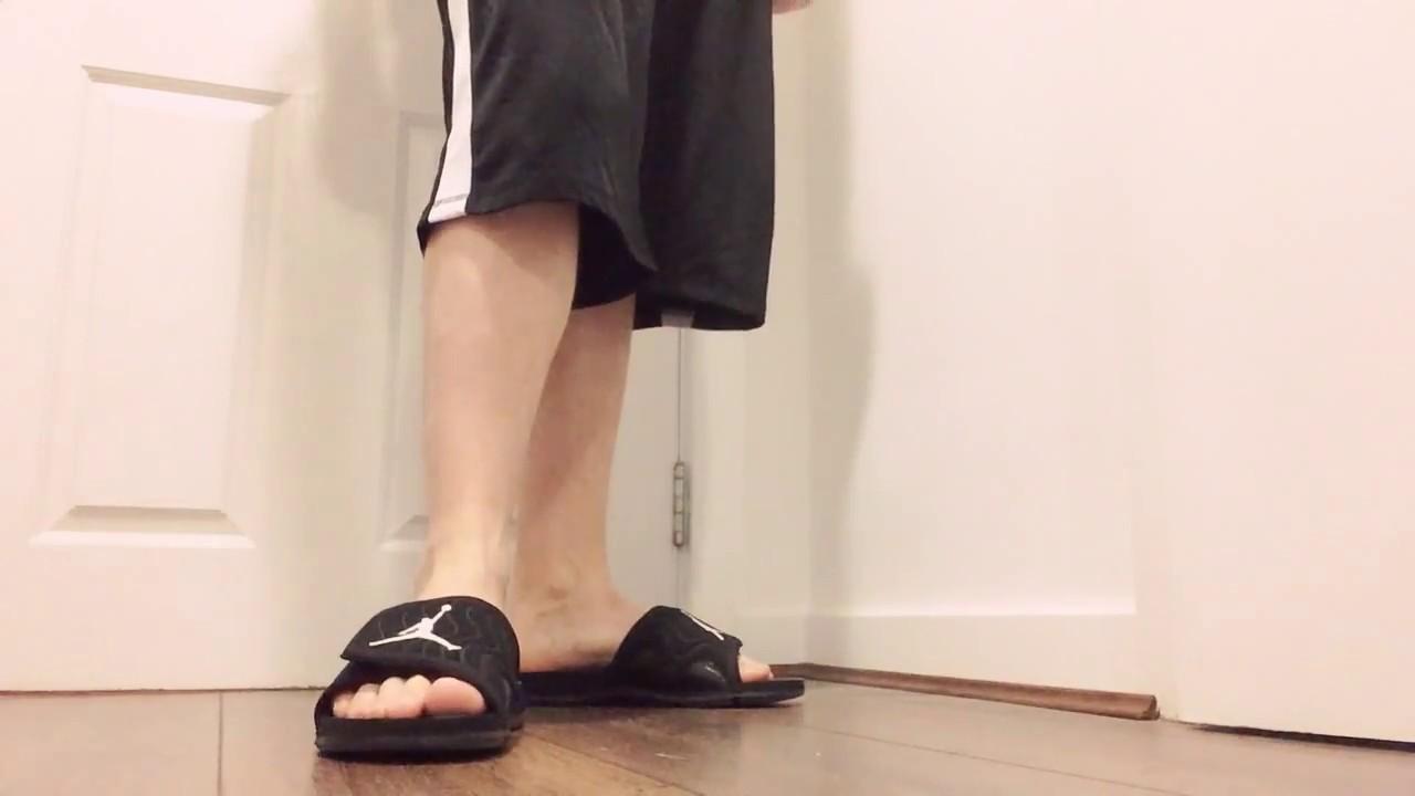 jordan slides and black basketball shorts youtube