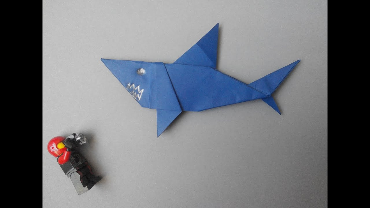 how to make paper shark Акула из бумаги shark papier
