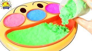 【アンパンマンの砂遊び★】フェイスランチ皿や砂場で絵描き歌と型遊び♩コキンちゃんと水で色遊び実験もしよう♩子供向け たまごMammy