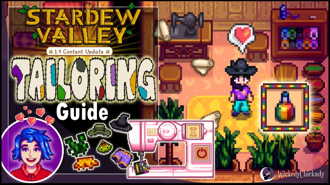 Tailoring Guide Stardew Valley 14 Update How To Make Custom Clothes Dye Sewing Machine