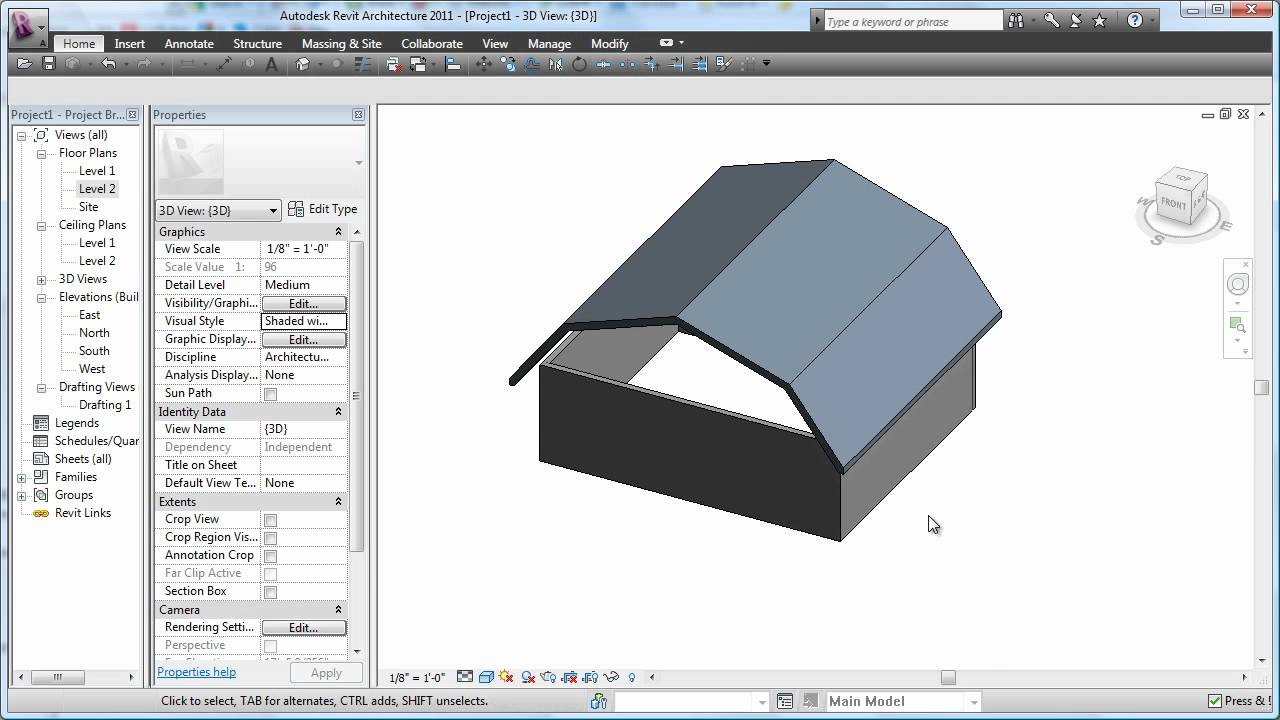 Cadclip Revit 2011 Roof Basics 05 Gambrel Youtube