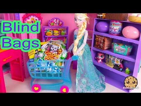 Disney Frozen Queen Elsa Doll Shops For Shopkins Season 3, Minecraft, Fashe'ms Blind Bags Unboxing