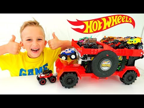 Vlad And Nikita Play With Hot Wheels Monster Trucks