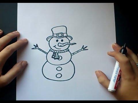 Como dibujar un muñeco de nieve paso a paso 2 | How to draw a ...