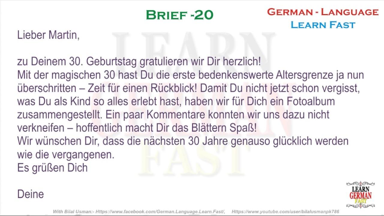 German Brief 20 A1 A2 B1 B2 C1 C2 Youtube