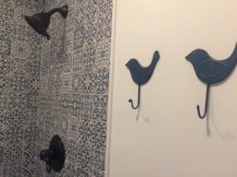 Blue moroccan tile bathroom
