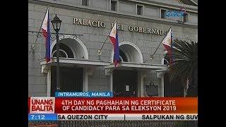 UB: 4th day ng paghahain ng certificate of candidacy para sa Eleksyon 2019
