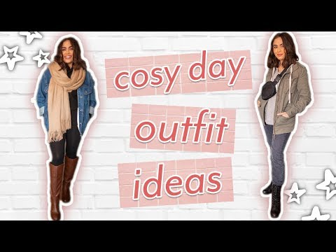 5 CUTE COSY DAY OUTFIT IDEAS // outfits for lazy + rainy days ♡ thumbnail