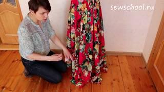 Как выровнять низ у платья полусолнце?