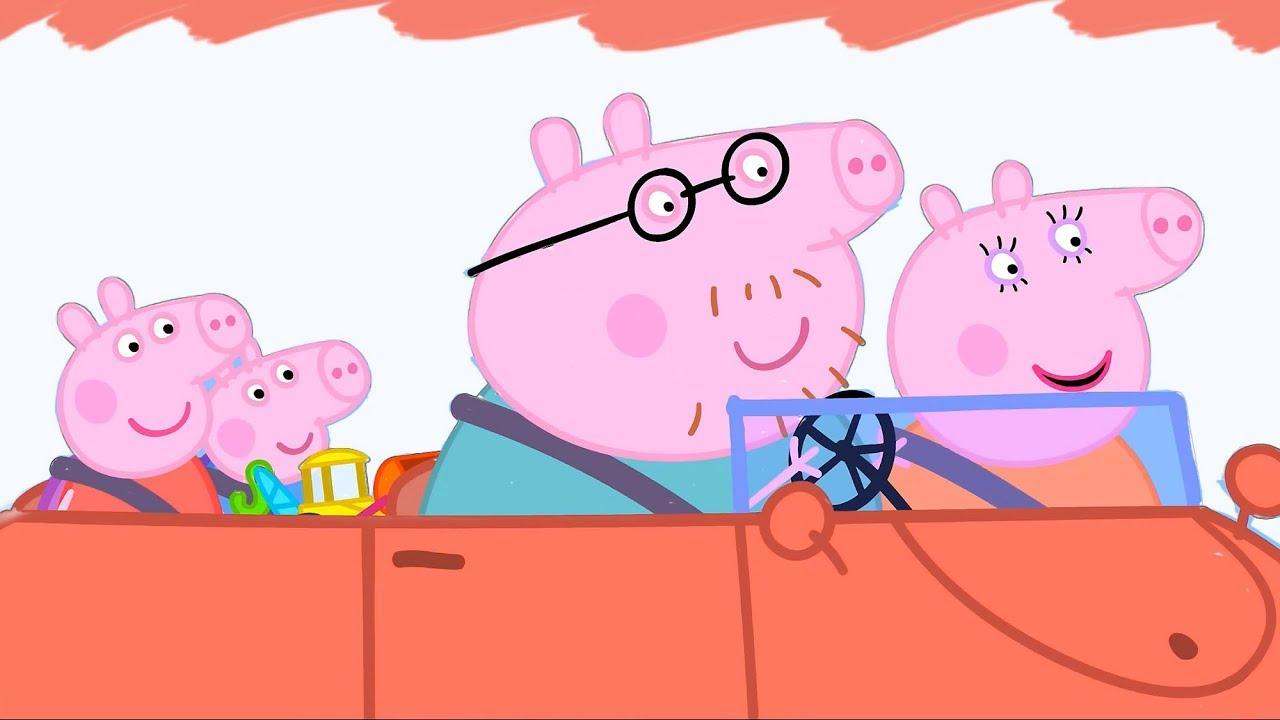 Раскрашиваем Пеппа с семьёй едут в машине Свинка Пеппа ...