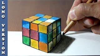 Rubik's Cube 3D Trick Art on Paper, Long Version