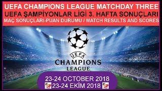 2018/19 Şampiyonlar Ligi 3. Hafta Sonuçları, Champions League matchday three fixtures-results