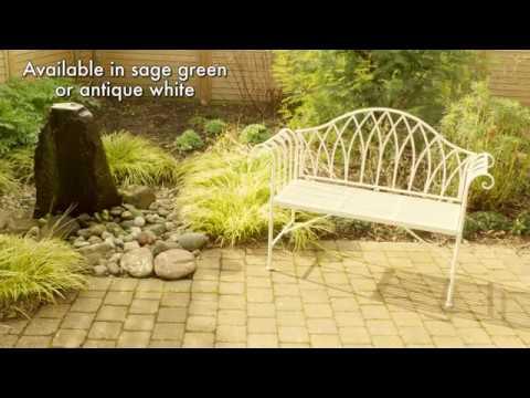 Victoria 2 Seater Metal Garden Bench In Sage