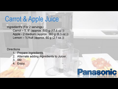 Panasonic Slow Juicer Recipe : Panasonic Slow Juicer MJ-L500 - Carrot and Apple Juice Recipe - YouTube