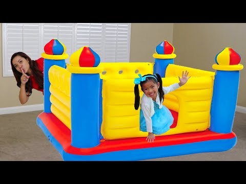 Emma Pretend Play w/ Giant Inflatable Castle BOUNCER Jumping Kids Toy
