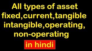 all types of asset fixed,current,tangible,intangible,operating,non-operating with example in Hindi