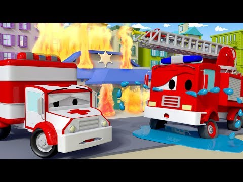 Thumbnail: Franck the Firetruck needs help ! - Amber the Ambulance in Car City 🚓 🚒 l Cartoons for Children