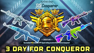 Journey To Win The Conqueror Title Of Season 15 In 3 Days | So Many Pro And Hacker | Pubg Mobile