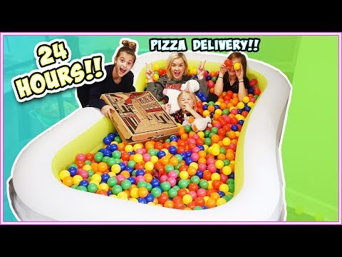 24 HOURS IN A BALL PIT!! INSIDE OF OUR HOUSE!!