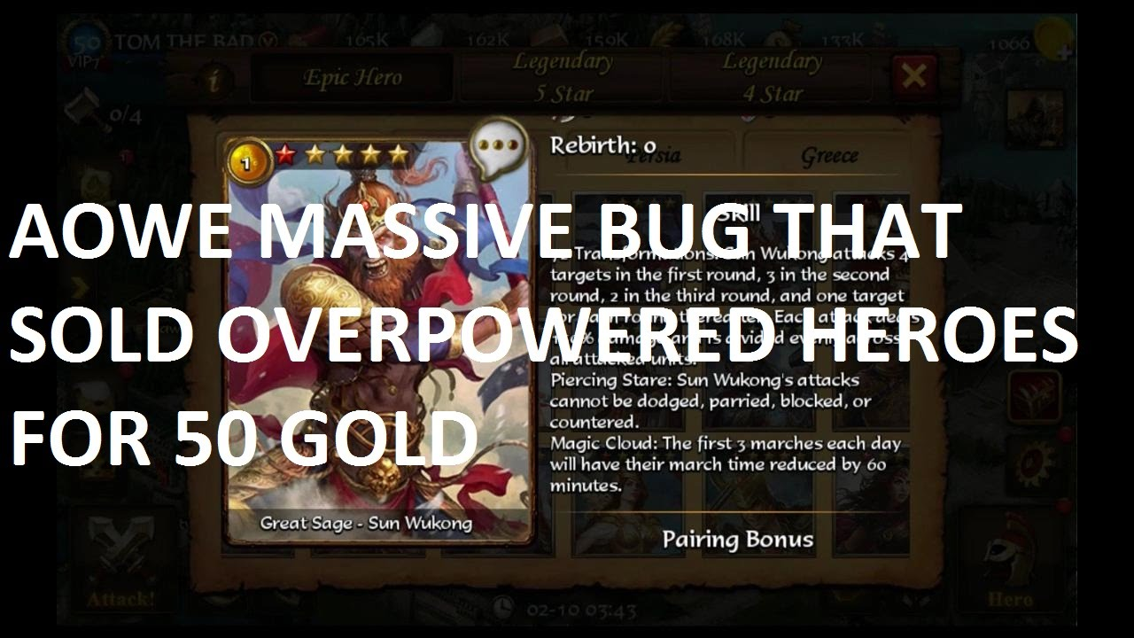 Age of Warring Empire Bug: over powered heroes for 50 gold!