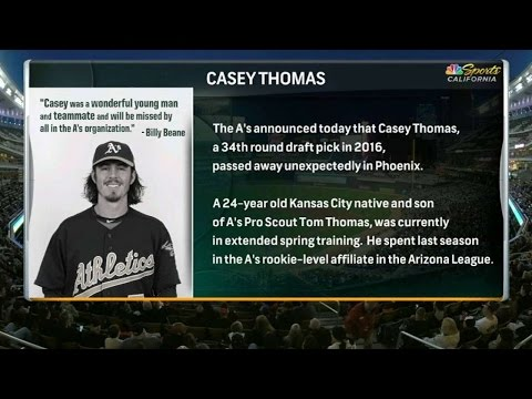 OAK@MIN: A's broadcast on passing of Casey Thomas