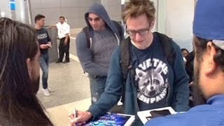 Guardians Director James Gunn And Dave Bautista Surrounded At LAX