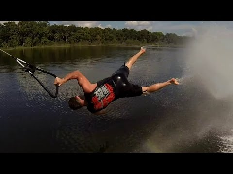 High Speed Barefoot Waterskiing Wipeouts!