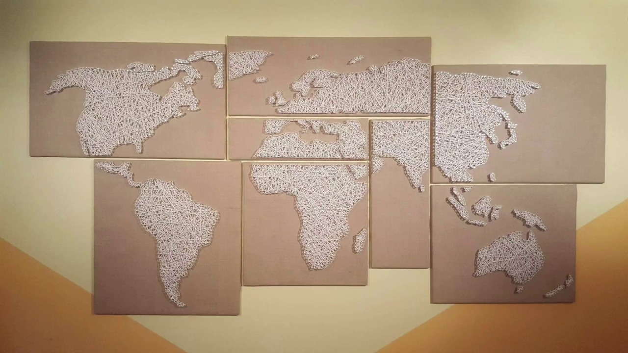 How to make a string art world map youtube how to make a string art world map gumiabroncs Images
