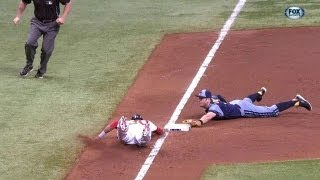 Longoria completes the unassisted double play