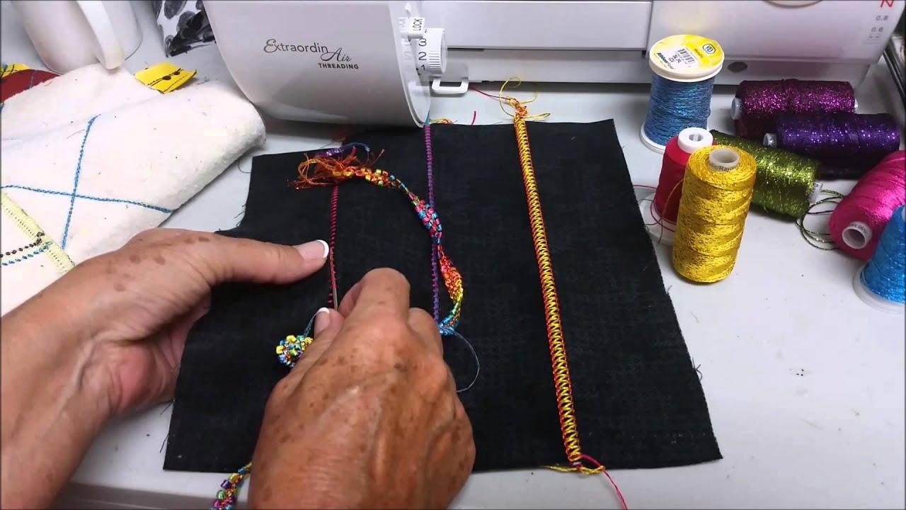 Flatlock stitch weaving in trim