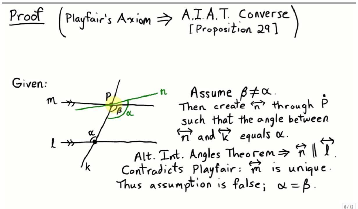Euclid 29: Alternate Interior Angle Converse   YouTube
